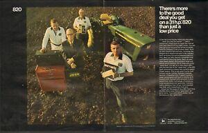 1972 LARGE 2pg Print Ad of John Deere 820 Farm Tractor