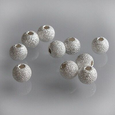10 x 4 mm Sterling 925 Silver Round Stardust Sparkle Frosted Spacer Beads Charms