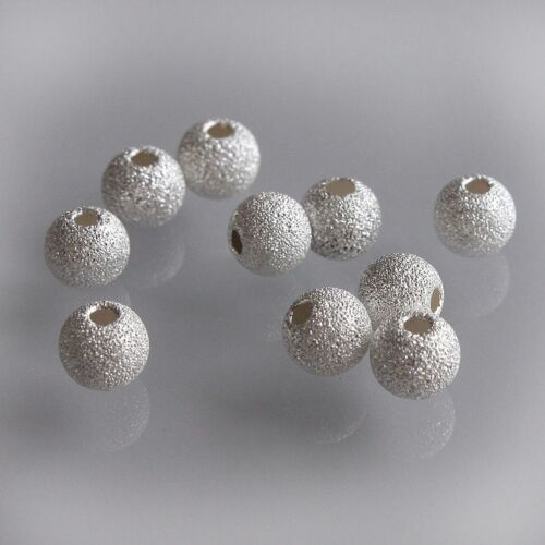 .925 Sterling Silver Round Stardust Sparkle Frosted Spacer Beads Findings 3-6 mm
