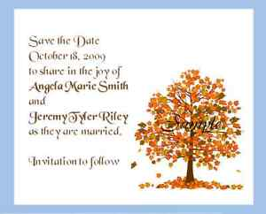 100 personalized custom fall autumn tree bridal wedding save the