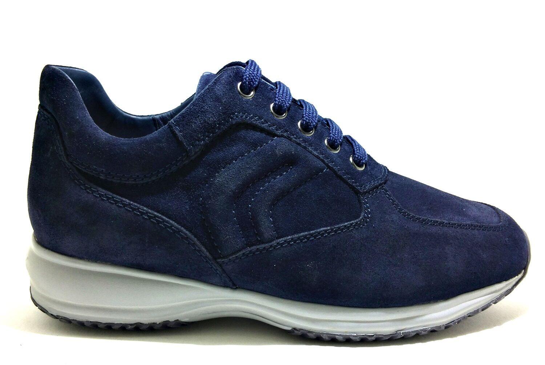 GEOX HAPPY camoscio U4356H NAVY scarpe uomo sneakers camoscio HAPPY pelle interactive stringhe 1c4ae0
