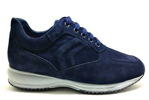 GEOX HAPPY U4356H NAVY scarpe uomo sneakers camoscio pelle interactive stringhe