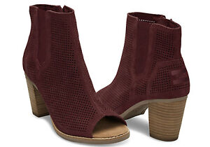 15a059a28b0 Image is loading TOMS-Oxblood-Perforated-Suede-Women-039-s-Majorca-