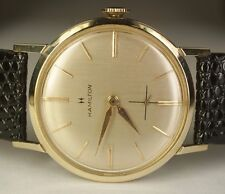Vintage Hamilton 14K Yellow Gold 32mm Cal. 686 Swiss 17j Dress Watch Leather