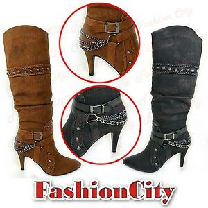 NEW-WOMEN-039-S-LADIES-MID-CALF-HIGH-HEEL-CHAIN-STUDED-STELIOTO-LONG-SHOES-BOOTS-3-8