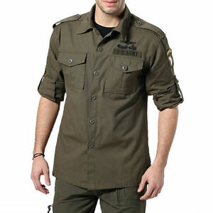 Military-Men-039-s-Army-Jacket-Long-Sleeve-Shirt-Cotton-Big-Size-Air-Force-Coat