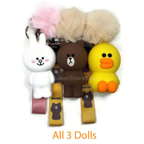 LINE Friends Plush Doll Toy Silicone Wallet Case Keychains Brown Cony Sally #1