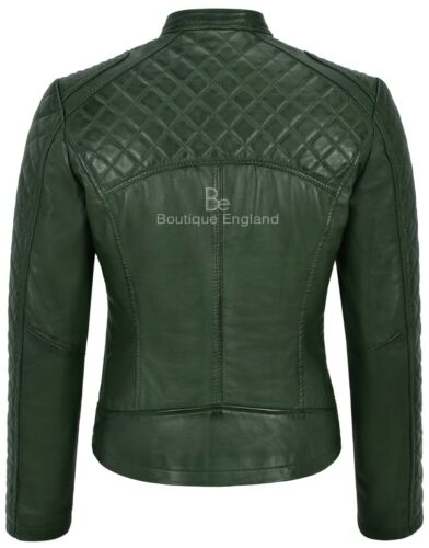 Shape Biker Fitted Front Diamond Panel Woman's Jacket Green Leather Real Style Pqa8fHF