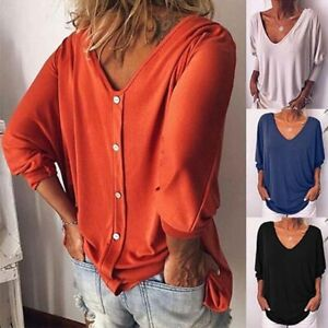 Blouse-Solid-Tops-Fashion-Ladies-Women-039-s-Shirt-Loose-Long-Sleeve-T-shirt-Casual