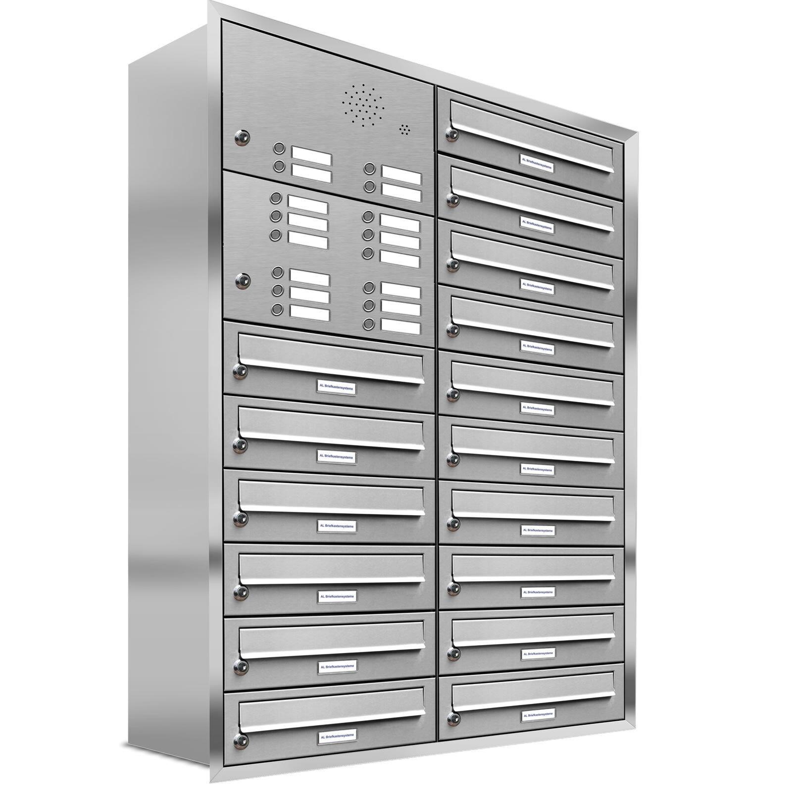 16er Premium Unterputz Briefkasten mit Klingel 16 Fach V2A Postkasten Anlage A4
