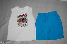Toddler Boys WHITE MUSCLE TEE & TURQUOISE CARGO TYPE SHORTS Super Agent 2T