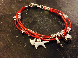 Silver-Plated-Star-Cord-Bracelet-Pendant-Charms-Christmas-Fox-Red