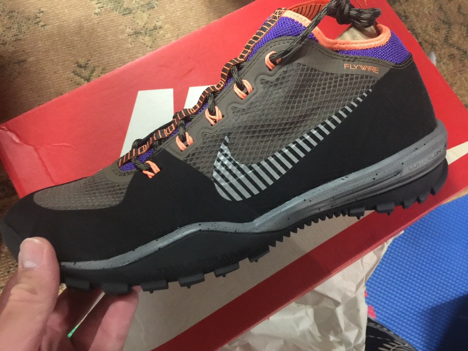 NEW Nike Lunarincognito Sneakerboots Sneakerboots Sneakerboots Black Metallic Silver Purple orange size 10 7e92f1