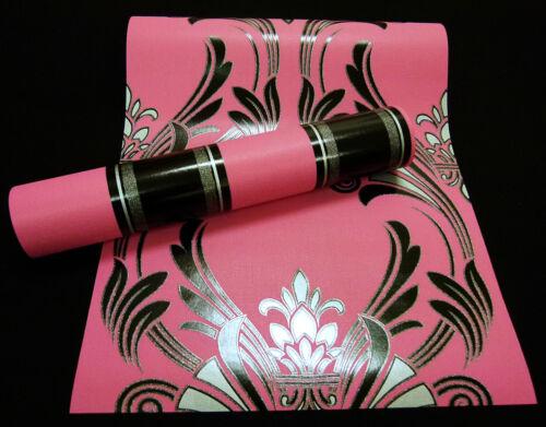 Vinyle Papier Peint Atlanta Ornement Design Papier Peint Rose lackschwarz avec Argent 95703 -
