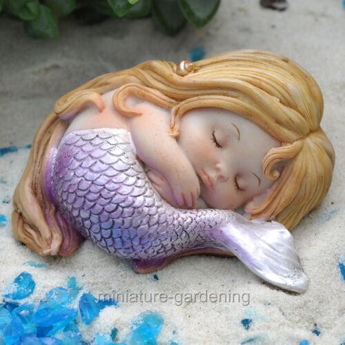 Sleeping Little Mermaid for Miniature Garden Fairy Garden