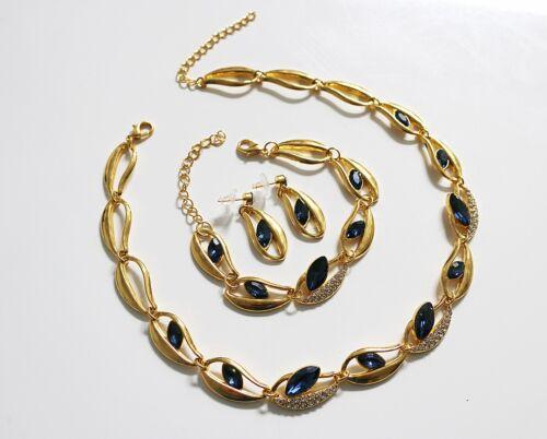 Blau NEU 3Tlg Schmuck-Set Collier-Ohrringe-Armband vergoldet