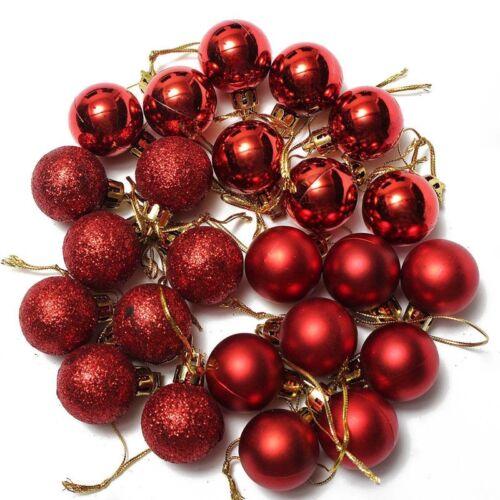 Nouveau 24PC Boules a suspendues rouge de la decoration de l/'arbre de Noel L2D3