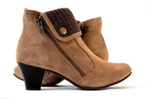 Damen-Schuhe-Gr-38-Stiefel-Stiefeletten-braun-Damen-Boots-Wildleder