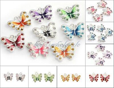 Wholesale 5/10pcs Enamel Animal Butterfly Pendant Charms Jewelry Making Findings
