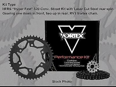 Vortex GFRS Steel 520 Street Chain and Sprocket Kit 15//43T 108 Links  CK2147