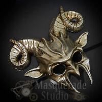 Men's Demon Ram God Ancient Greek Beast Satan Spirit Masquerade Mask [silver]