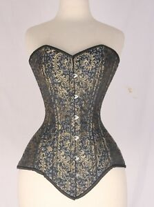 Brown Real Leather Corset Real Steel Bones Lace up Back Under Bust 2XS~7XL