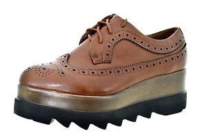 e3c14b7131d6ba Caricamento dell'immagine in corso Scarpe-donna-inglesina-platform-marroni- sneakers-con-zeppa-