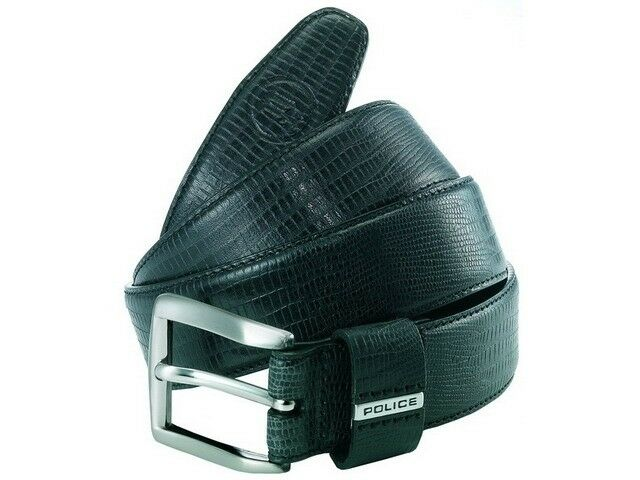 New RRP £ 50 police  pomaa 8-0402 CL P keeper Noir  police leather Argent  buckle belt L 0e1908