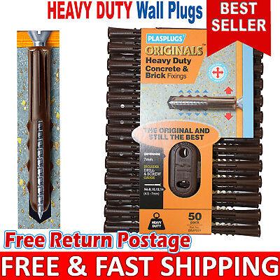 Brown Wall Plugs Rawl Plugs 7mm 7mm Wall Plugs Heavy Duty Concrete /& Brick Fix