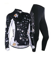 Women Lady Cycling Bicycle Bike Clothes Long Sleeve Jersey Padded Pants Set S-XL