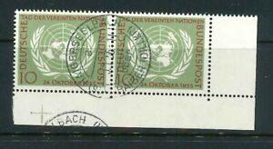 BRD-Mi-Nr-221-Paar-Ecke-4-Eckrand-zentrisch-gestempelt-Vollstempel