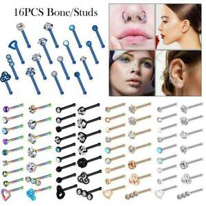 16PCS-LOT-CZ-Bone-Nose-Studs-316L-Stainless-Steel-Straight-Rod-Lip-Ear-Ring-20G