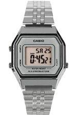 Casio LA680WA-7D Ladies Mid-Size Silver Digital Retro Vintage Watch Silver Dial