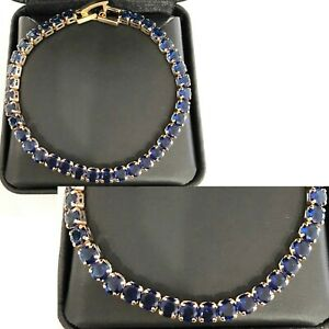 Xmas-Gifts-Luxury-23-37Ct-Blue-Sapphire-TenniBracelet-Gift-18K-Yellow-Gold-Over