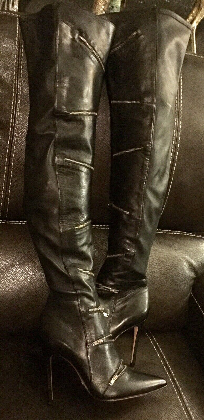NEW RARE RARE RARE GORGEOUS SCHUTZ WOMEN BLACK LEATHER OVER THE KNEE THIGH HIGH BOOT 8.5 9 d2d319