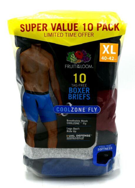 16 Black Gray XL 40-42 Inch Boxer Briefs Fruit Of The Loom EG 102-107 CM