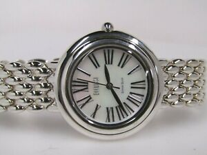 Ecclissi Sterling Silver Round Roman Numeral Bracelet Watch  Silver