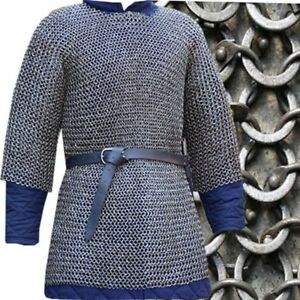 6mm-chainmail-shirt-Half-Sleeve-Round-Riv-with-Soiled-ring-Extra-Large-shirts