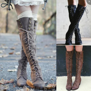 Women-Lace-up-Knee-High-Rivet-Long-Boots-Motorcycle-Combat-Riding-Shoes-Size-Hot