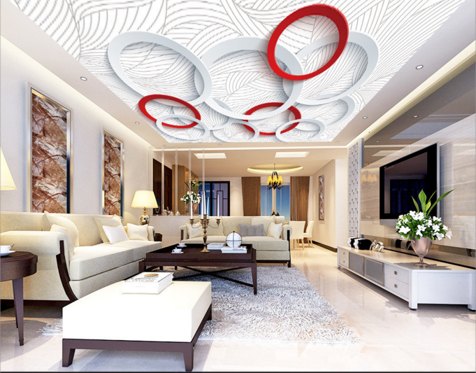 3D ROT Weiß Round 8 Ceiling WallPaper Murals Wall Wall Wall Print Decal Deco AJ WALLPAPER c2347d