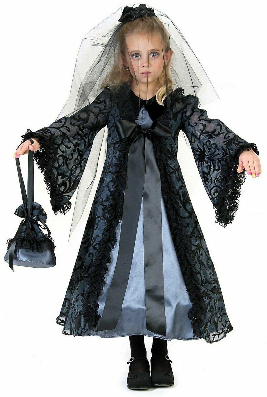 Midnight Gothic Zombie Bride Child Girls Fancy Dress Halloween Costume L 10