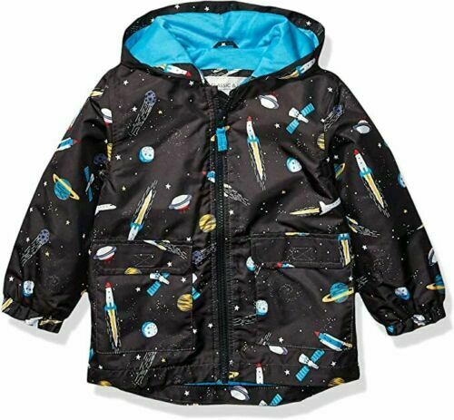CHILDREN FLEECE LINED STORM BREAKER WATERPROOF JACKET DINOSAUR CRITTER RAIN COAT