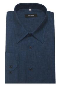HUBER-Leinen-Hemd-marine-blau-Langarm-Nachhaltige-Naturfaser-HU-0058-Regular-Fit