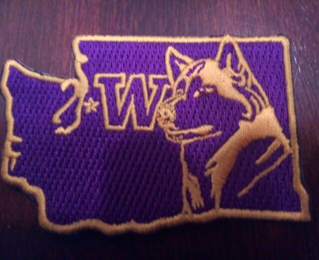 "UW WASHINGTON HUSKIES  vintage iron on embroidered patch 3"" x 2"" AWESOME"