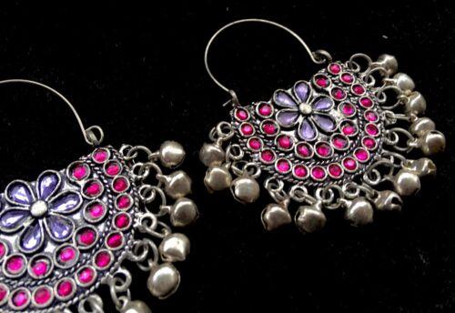 Tradicional Estilo Étnico kuchi Boho bailarina del vientre Aro Pendientes de plata de color de rosa caliente