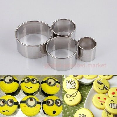 4X Metal Cake Decorating Cutter Fondant Pastry Mold Round Circle Craft Tool CCA