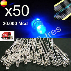 x50-Diodos-Led-3mm-Luz-Azul-Blue-Light-Alta-Calidad-Resistencias-Arduino