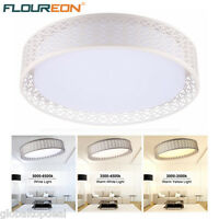 24w Round Led Ceiling Light Bedroom Lobby Pendant Dimmable Remote Chandelier Uk