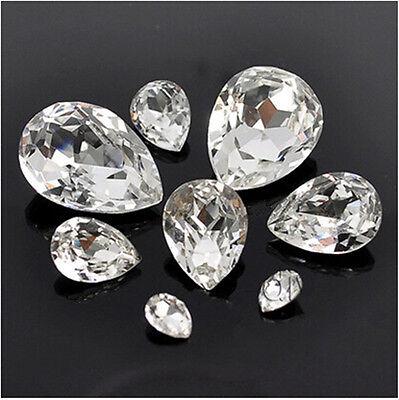 Clear teardrop rhinestone crystal bead point back glass foiled variable size