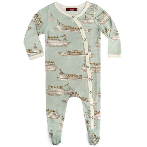 Milkbarn Bamboo Infant Baby Footed Romper Blue Ships 9-12 Months New